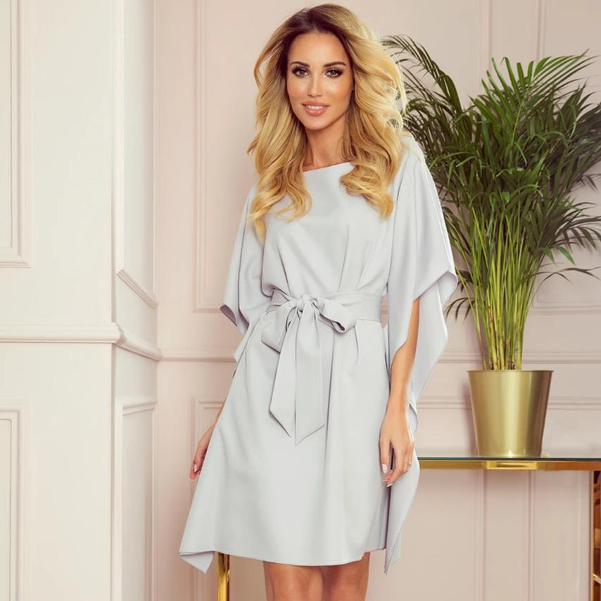 287-5 Butterfly Style Belted Mini Dress In Grey