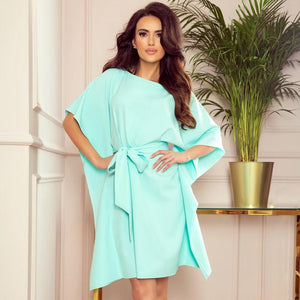 287-6 Butterfly Style Belted Mini Dress in Mint