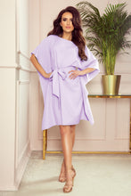 287-8 Butterfly Style Belted Mini Dress in Light Purple