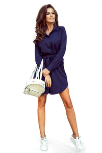288-1 Shirt Mini Dress In Navy