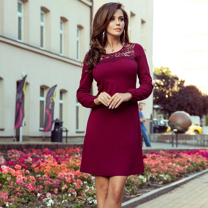 291-1 Trapeze Mini Dress In Burgundy