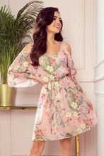 292-1 Pink Floral Cold Shoulder Tiered Ruffle Sleeve Dress