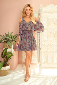 292-3 Cold Shoulder Belted Mini Dress In Navy