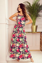 294-1 Navy Floral Spaghetti Strap Maxi Dress