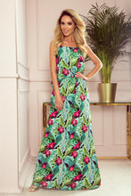 294-2 Green Floral Spaghetti Strap Maxi Dress