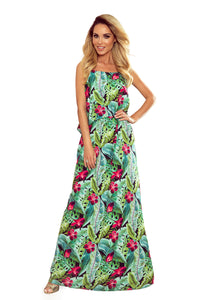 294-2 Floral Print Spaghetti Strap Maxi Dress In Green