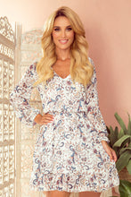 295-2 Ruffle Hem Chiffon Mini Dress In Floral Print Ecru