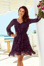 295-4 Ruffle Hem Chiffon Mini Dress In Navy