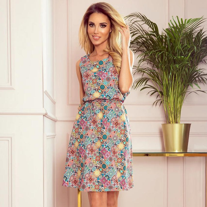 296-1 Trapeze Belted Midi Dress In Pink/Blue