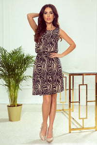 296-2 Zebra Print Trapeze Belted Midi Dress In Beige/Black