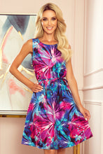 296-3 Floral Trapeze Belted Mini Dress In Blue/Pink