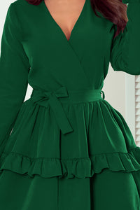 297-1 Belted Mini Dress In Green
