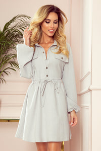 298-1 Drawstring waist Shirt Mini Dress In Grey