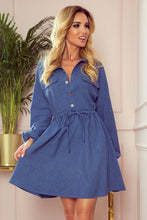 298-2 Drawstring waist Shirt Dress In Blue