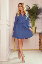 298-2 Drawstring waist Shirt Mini Dress In Blue