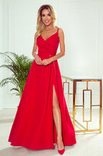 299-1 Strap Slit Maxi Dress In Red