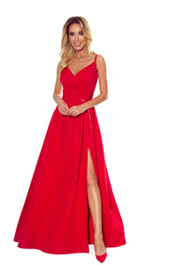 299-1 Wrap Effect Straps Maxi Dress In Red
