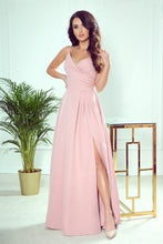 299-2 Strap Slit Maxi Dress In Dusty Pink