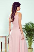 299-2 Wrap Effect Straps Maxi Dress In Dusty Pink