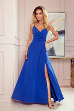 299-3 Strap Slit Maxi Dress In Blue