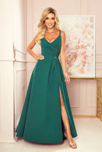 299-4 Wrap Effect Straps Maxi Dress In Bottle Green