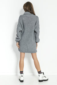 F859 Alpaca-Blend Jumper Mini Dress In Grey