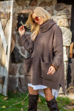 F1104 Oversized Front Pocket Roll-Neck Knit Sweater In Brown