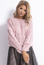 F778 Oversized Reversible Knit Sweater In Pink