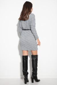 F1131 Cable Knit Sweater Mini Dress In Grey