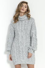 F860 Turtle Neck Jumper Dress In Grey