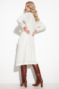 F1129 Oversize Wool-Blend Belted Longline Cardigan In Ecru