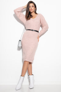F1101 Oversized Ribbed-Knit Jumper Midi Dress In Pink