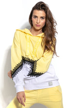 F937 Cotton Hooded Sweatshirt With Lace Detail In Lemon-Yellow