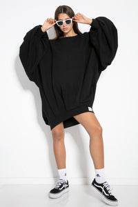 F1126 Cotton-Blend Volume Sleeve Sweatshirt Mini Dress In Black