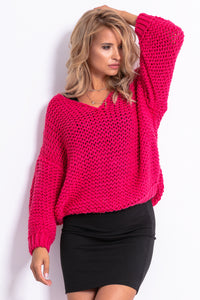 F774 Chunky Knit Oversized Sweater In Pink