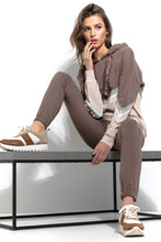 F937 Cotton Hooded Sweatshirt With Lace Detail In Brown