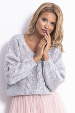 F778 Oversized  Reversible Sweater In Grey