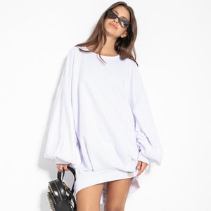 F1126 Cotton-Blend Volume Sleeve Sweatshirt Mini Dress In White