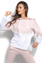 F937 Cotton Hooded Sweatshirt With Lace Detail In Pink