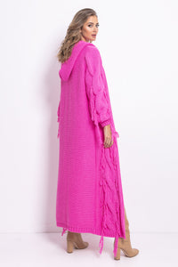 F742 Hooded Maxi Cardigan In Pink