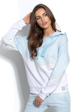 F937 Cotton Hooded Sweatshirt With Lace Detail In Blue