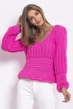 F760 Chunky Knit Oversized Jumper In Pink