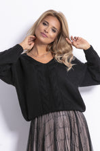 F778 Oversized Reversible Sweater In Black