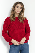 F861 High-Neck Chunky-Knit Sweater In Red