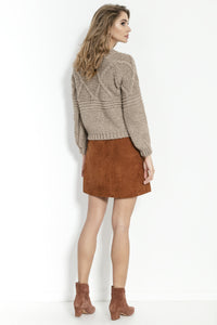 F861 High-Neck Chunky-Knit Alpaca-Blend Jumper In Brown