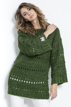 F862 Chunky Knit Long Jumper In Olive