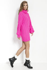 F860 Alpaca-Blend Jumper Mini Dress In Pink