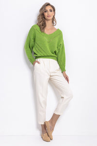 F765 Openwork Knit Jumper In Green
