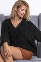 F774 Chunky Knit Oversized Sweater In Black