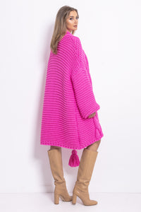 F756 Chunky Knit Longline Cardigan In Pink